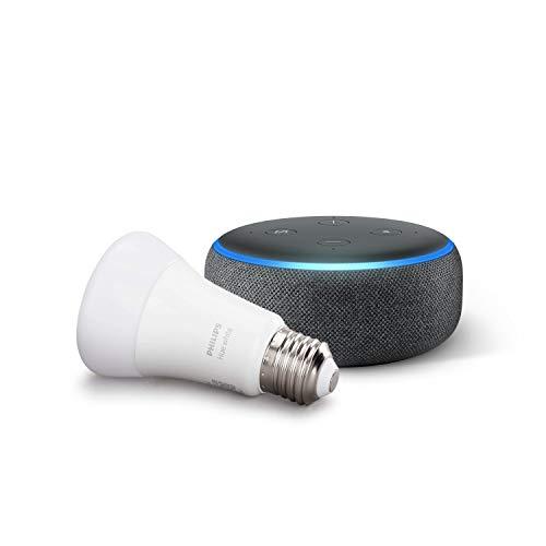 Echo Dot (3ª generazione, tessuto antracite) + Philips Hue White Lampadina LED Connessa, Attacco E27, Dimmerabile, Luce Bianca Calda