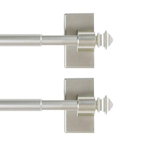 H.VERSAILTEX 2 Pack Magnetic Curtain Rods for Metal Doors Multi-Use Rods for Small Windows Cafe Sidelight and Iron Steel Places, Tool Free with Square Finials (Adjust from 16 to 28 Inch, Nickel)
