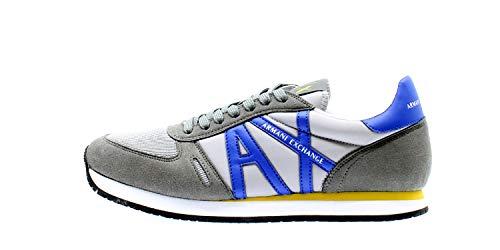 Armani Exchange - Zapatillas deportivas multicolores de microgamuza para hombre K497 Dark Grey L Blue 40 EU
