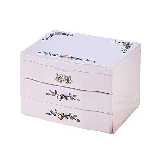 CHICAI Caja de almacenamiento de joyería de mano de gran capacidad, de madera, caja de almacenamiento de joyas, caja de regalo de recuerdo, adecuado para anillos, pendientes y collares