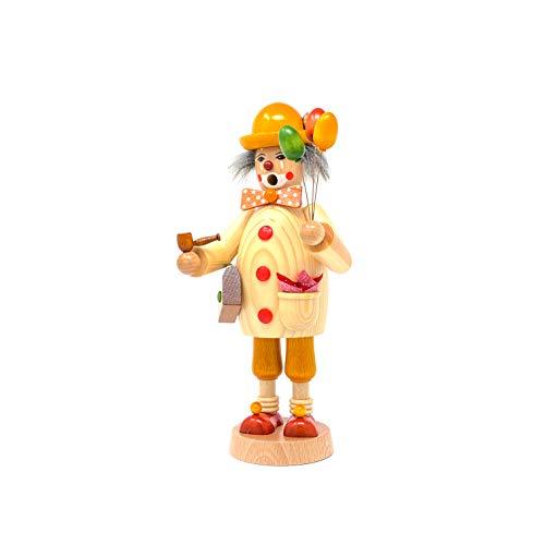 Friedbert Uhlig, incenso n. 072, Clown, altezza 25 cm, in legno tornito regionale, fatto a mano dai Monti Metalliferi, Natale, arte del legno, vero legno