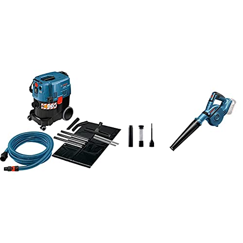 Bosch Professional Industriestaubsauger Gas 35 M AFC (1.200 Watt, 35 L Behälter, 5 m Schlauch), Blau, Schwarz, 35 Liter, M & 18V System Akku Werkstatt-Gebläse GBL 18V-120 (270 Km/h, inkl. 4X Zubehör)