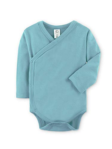 Colored Organics Baby Organic Cotton Kimono Bodysuit - Long Sleeve Infant Side Snap Onesie - Newborn 0-3 Months - Dusty Teal