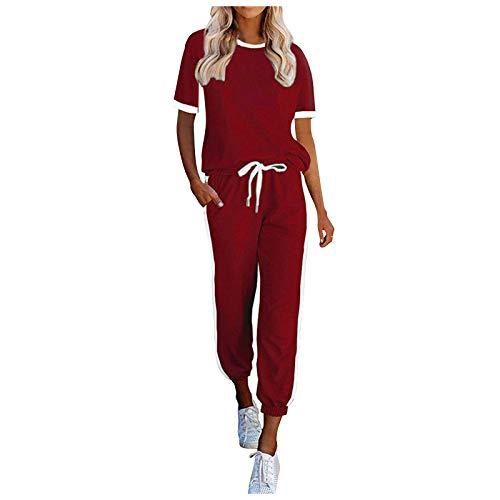 T-Shirts Zweiteilige Sets Damen Casual Home Nachtwäsche Rundhalsausschnitt Kurzarm Streifen Zweiteilige Sets (S,rot)