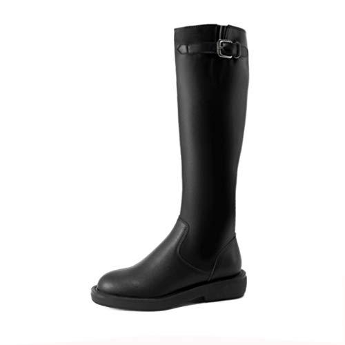 Botas de equitación británicas para Mujer Correa de Hebilla de Metal Botas largas de Cuero con Cremallera Otoño Invierno Botas de equitación de tacón Cuadrado al Aire Libre para Caballero