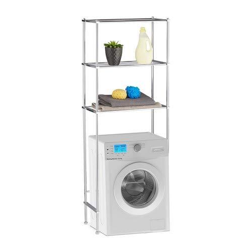 Relaxdays, Silber Überbauregal Waschmaschine, WC-Regal mit 3 Ablagen, Waschmaschinenregal Chrom, HBT: 162 x 63 x 30 cm