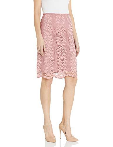 Tahari ASL Women's Pencil Skirt, Pink Floral lace, 10