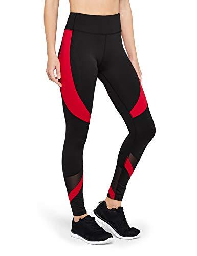 Amazon Brand - AURIQUE Leggings deportivos con paneles para mujer, Negro (Black/Red), 42, Label:L