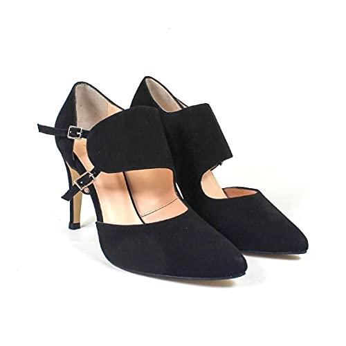 Respira - Salones Zapatos Negros de Piel para Mujer con Punta Fina...