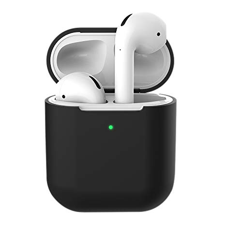coque en silicone pour Apple AirPods 2 & 1, Molylove Case pour Airpods Coque en Silicone Coque Protection Antichoc [Face avant visible] (AirPods 2, Noir)