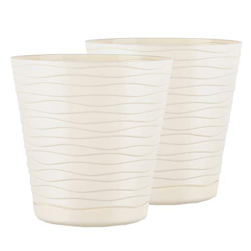 TYMAR Blumentopf mit Untersetzer, 2er-Pack, runde Form, Pflanzgefäß, Pflanzkübel für Innen, Pflanztopf aus Kunststoff, Leichter, Doppelpack,mit 3D-Wellendesign ( 11 cm, Creme)