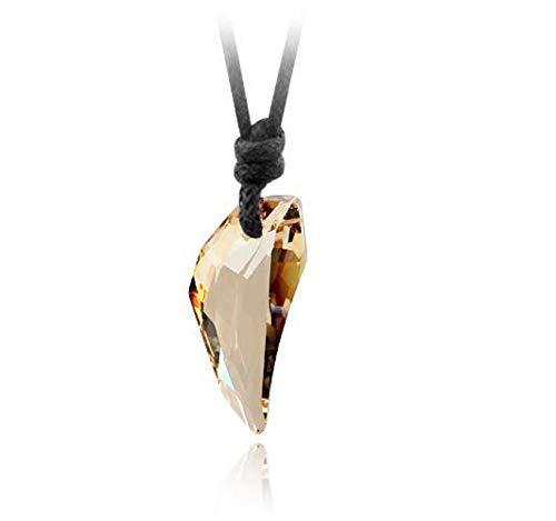 N/G Moda para Hombre Collar con Pinchos Colgante de Cristal Cordón de Cuero Collar Retro Fresco para Hombre Joyería Creativa Unisex