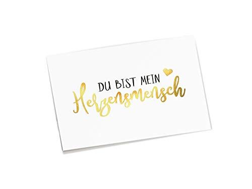 corners & edges® Postkarte Herzensmensch | Goldprägung |Freundschaft/Liebe/Spruch | DIN A6