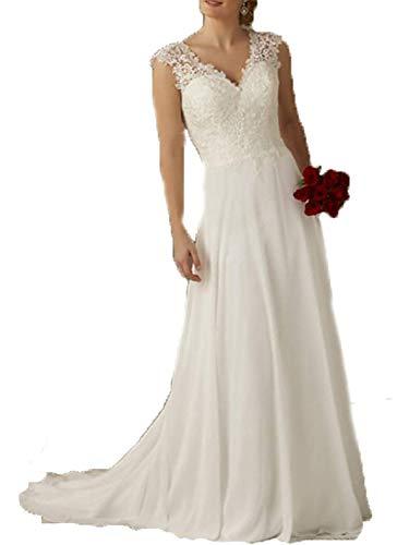 JAEDEN Abiti da Sposa Lungo Vestito da Sposa Senza Schienale Abiti in Chiffon per la Sposa V-Collo Pizzo Bianco EUR46