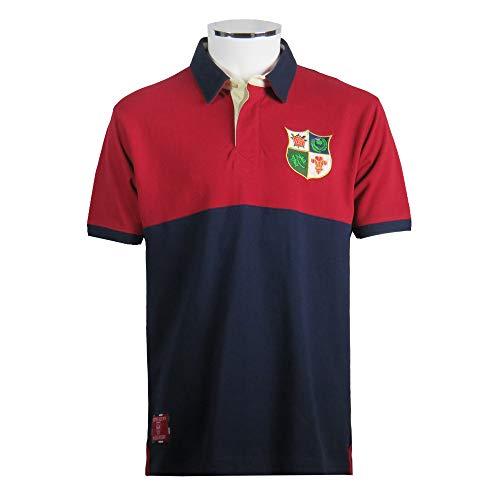 British & Irish Shirt Polo Heritage Rugby, Rot / Marineblau (XL)