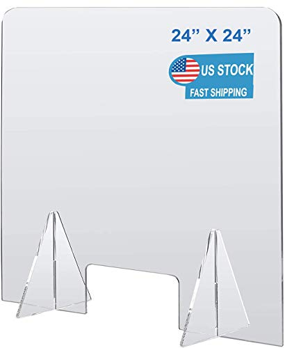 Plexiglass Barrier Divider Protective Plastic Shield Freestanding Clear Acrylic Sneeze Guard for Counter Desk Office Nail Salon with Transaction Window (24'W x 24'H)