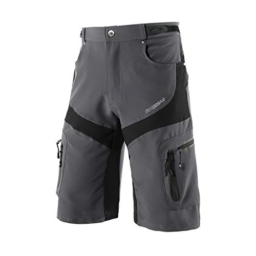 BERGRISAR Men's Cycling Shorts MTB Mountain Bike Bicycle Shorts Zipper Pockets 1806BG Grey Size Medium
