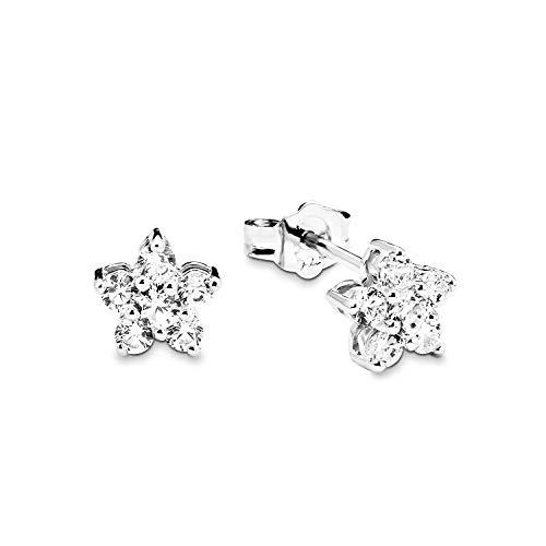 Amor de mujer pendientes estrella flor plata de ley 925rodiada circonitas color blanco–381895