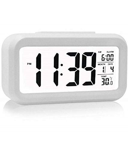 SKYLIT Digital Smart Backlight LCD Display Automatic Sensor, Date and Time, Temperature Plastic Alarm Clocks (White)