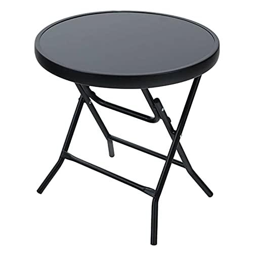 BJYX Mesa comedor interior exterior jardín Bistro negro redondo mesa de café plegable mesa de comedor terraza