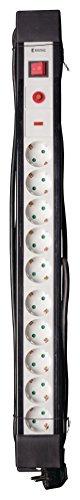 Eurosell - Premium Line 10fach Steckdosenleiste Mehrfachstecker Schutzkontakt + Kindersicherung + Überspannungsschutz + 3 Meter langes Kabel schwarz
