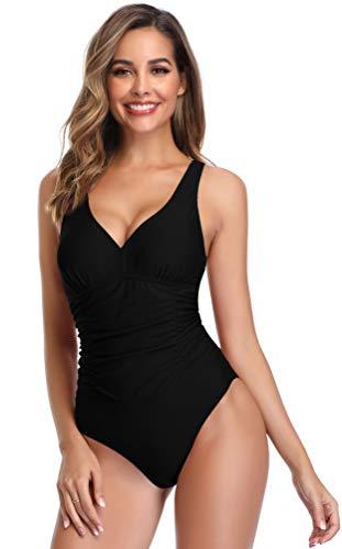 SHEKINI Damen Retro Einteiliger Badeanzug V-Ausschinitt Bademode Mittlere Taille Raffung Bauchweg Schwarz Bikini für Frauen (Large, Schwarz)