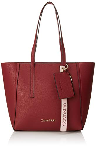 Calvin Klein Jeans Damen Ck Base Medium Shopper Schultertasche, Rot (Red Rock), 16x28x42 cm