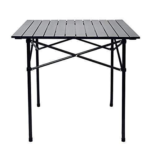 アウトドアテーブル キャンプテーブル 折りたたみデスク ロールテーブル bbq テーブル 折畳テーブルアルミ製 テーブル キャンプ 用 アウトドア&室内 軽量 コンパクト 幅52×奥行52×高さ52cm