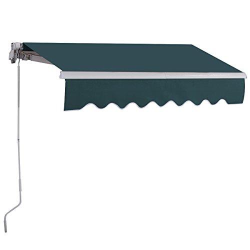 COSTWAY 2,5 x 2 m Gelenkarmmarkise Sonnenmarkise Balkonmarkise Terrassenmarkise Klemmmarkise mit UV- und wasserbeständigem Material, Aluminiumrahmen und -kurbel, für Balkon und Veranda (Grün)