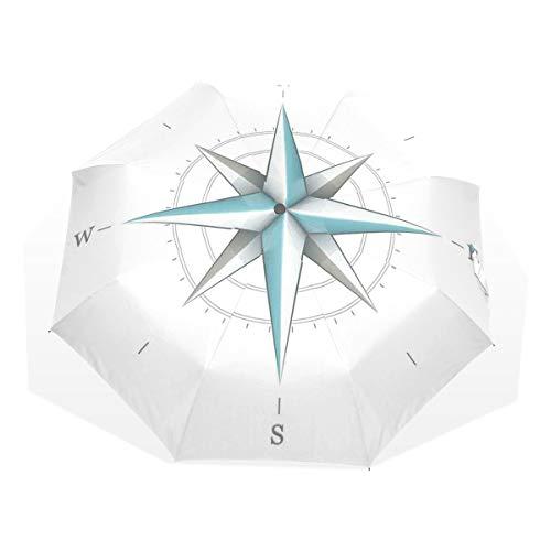 LASINSU Regenschirm,Kompass Antik Wind Rose Diagramm für Kardinal Richtungen Achse der Erde Illustration Teal und Dimgra,Faltbar Kompakt Sonnenschirm UV Schutz Winddicht Regenschirm
