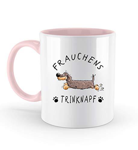 Shirtee Frauchens Trinknapf Dackel I Kaffeetasse Mit Lustigem Spruch I Dachshund Teckel Geschenk - Zweifarbige Tasse -330ml-Powder Pink