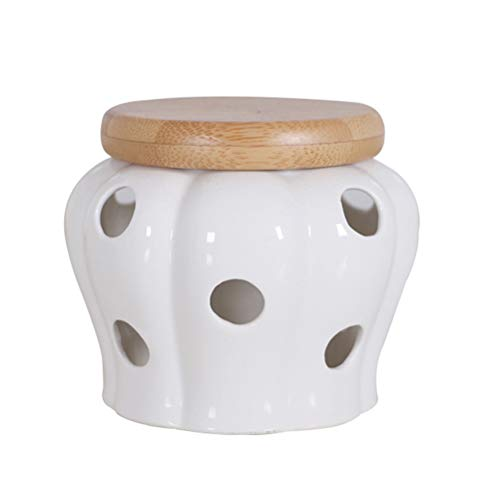 BESTONZON Tarro de Cerámica, Tarro de Almacenamiento Redonda con Tapa de Bambú para Guardar Ajos, Color Blanco - 13 x 13 x 11 cm