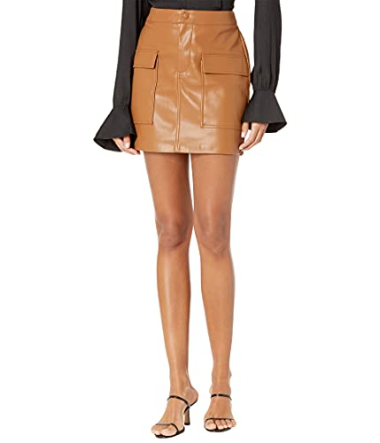 BB Dakota by Steve Madden Women's Leather Too Late Skirt, Caramel, 4