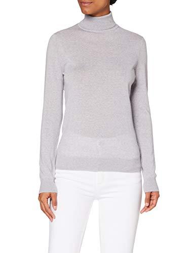 Marchio Amazon - MERAKI Pullover Lana Merino Donna Collo Alto, Grigio (Light Grey Marl), 44, Label: M