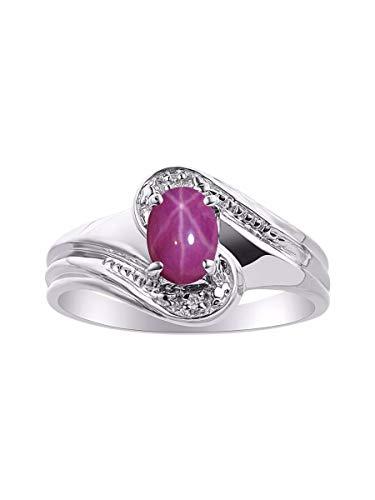 RYLOS Simply Elegant Beautiful Red Star Ruby & Diamond Ring - July Birthstone