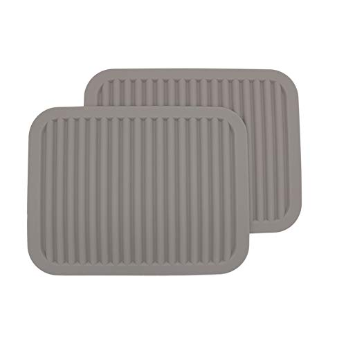 Silicone Trivets, Set of 2,Silicone Pot Holder/Trivet Mat/Silicone Drying Mat - Waterproof, Heat Insulation, Non-Slip, Spoon Rest, Tableware Pad, Jar Opener & Coasters (9 * 12INCH, Light Gray)