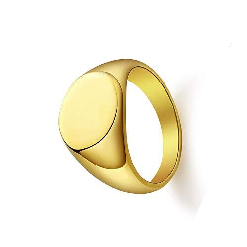 litulituhallo Anillo sólido del sello para las mujeres hombres oro acero inoxidable personalizado simple