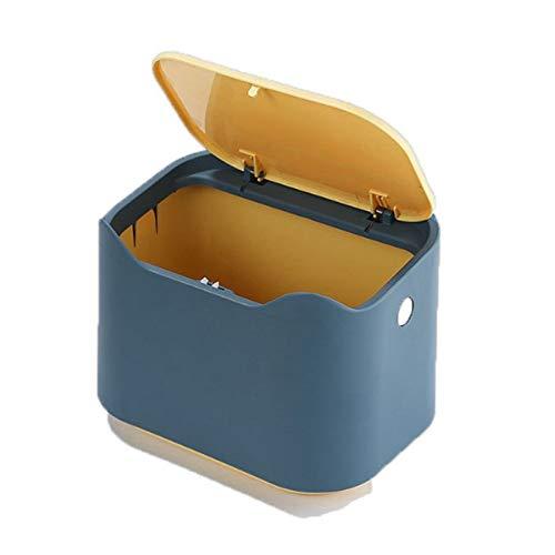 TIANTI Mini Encimera Papelera de Escritorio con Tapa, Mini Bote de Basura de Escritorio, Se Utiliza para El Cubo de Basura de La Cocina y El Dormitorio del Hogar (Amarillo Azul)