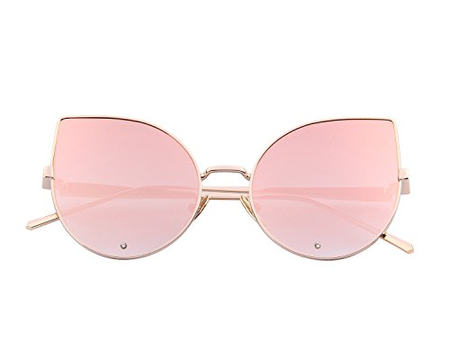 MERRY'S Women Rose Gold Cat Eye Sunglasses Pink Mirorred Lens S8026(Pink, 52)