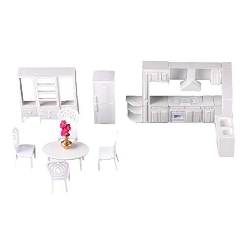 Unbekannt 1/25 Zarte Küchentisch Stühle DIY-Kit Modell Esszimmermöbel Weiß