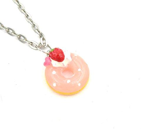 Donut Kette 60cm Mode-Schmuck Kawaii-Anhänger Erdbeer rosa Gebäck Keks