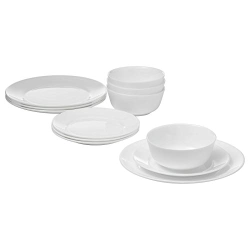 IKEA Oftast 12-Piece Eating Set White 4X Dinner Plates 4X Side Plates 4X Cereal Bowls