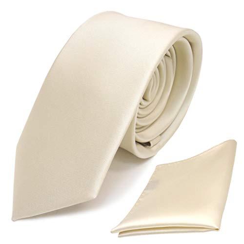 TigerTie - schmale Designer Krawatte Einstecktuch in creme beige elfenbein einfarbig uni