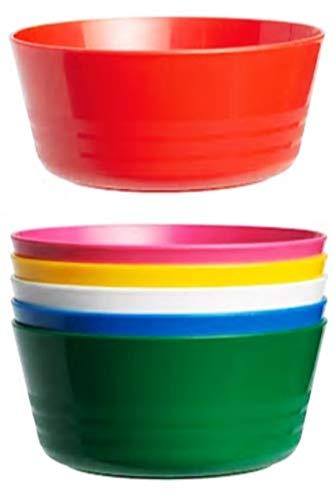 Set van 6 kleurrijke kunststof kom 12 cm diameter