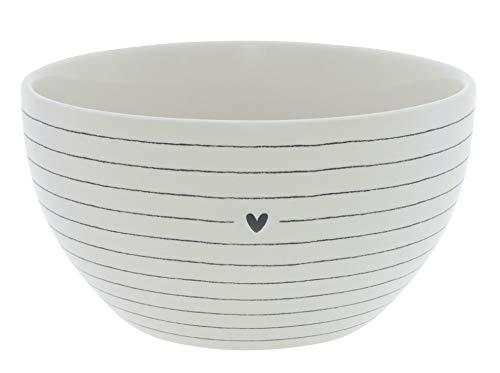 Bastion Collections BC Bowl Stripes aus weißem Keramik mit einem kleinen schwarzen Herz Keramikgeschirr Müslischale Dessertschale Küche Frühstück Gedeckter Tisch