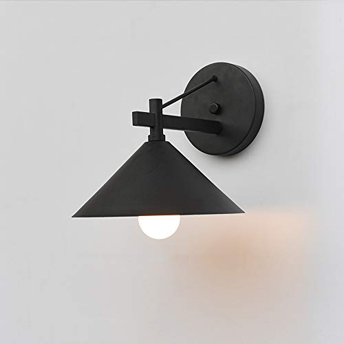 Outdoor wandlamp rustieke landelijke stijl rond look buitenlamp ijzer buitenwandlamp industrieel zwart E27-fitting wandlamp voor binnen buiten tuin balkon terras ingang hal, 24 * 25 * 30 cm