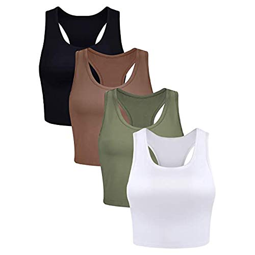 Whyeasy 4 Pack High Impact Sports Bras Bounce Control Workout Running Bra Wirefree Padded Racerback Yoga Tank Tops for Women(Multicolor #03,XL)
