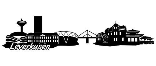 Samunshi® Leverkusen Skyline Wandtattoo Sticker Aufkleber Wandaufkleber City Gedruckt Leverkusen 120x28cm schwarz