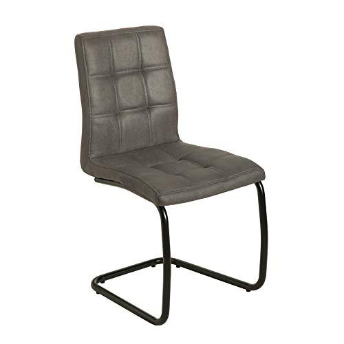 riess-ambiente.de Moderner Freischwinger Stuhl Modena Vintage grau Design Steppung Esszimmerstuhl Stuhl