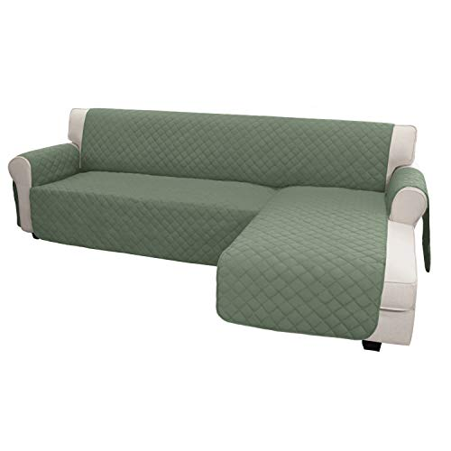 Easy-Going Sofa Slipcover L Shape Sofa Cover Sectional Couch Cover Chaise Lounge Slip Cover Reversible Sofa Cover Furniture Protector Cover for Pets Kids Dog Cat(X-Large,Greyish Green/Greyish Green)